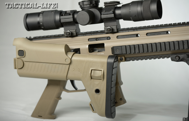 With the stock folded to the right side and locked into position via a tab on the receiver, the RX22 will still function. Also note that the stock is fully adjustable for length of pull and cheek height.