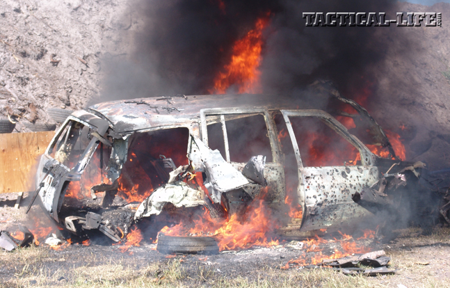 The Sacrificed SUV After Absorbing Over 1000 Rounds   Big Three East 2014