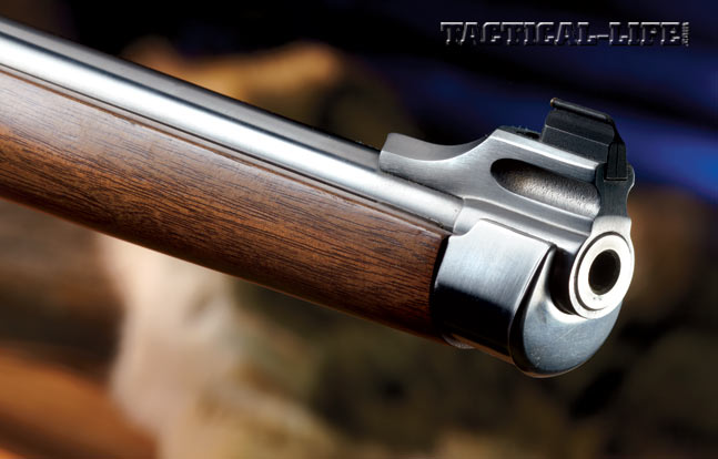 The steel nose cap on the full-stocked M77 RSI rifle is one of the accuracy-robbing culprits. Also note the large, easy-to-see front sight.