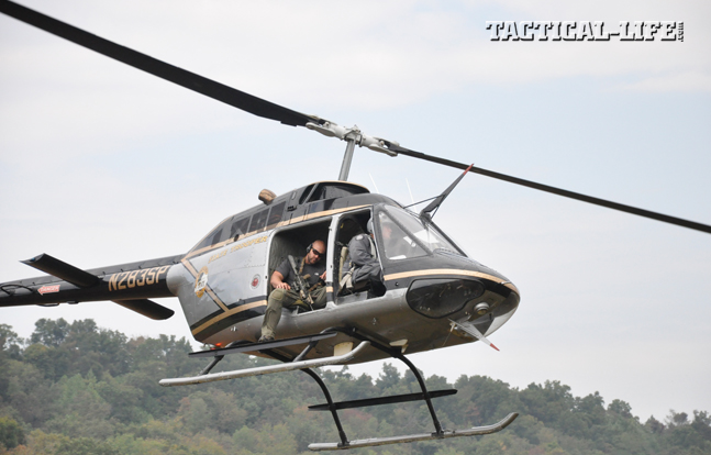 """To make first-round hits in Greg Coker's Helicopter Aerial Rifle Marksmanship (HARM) course, students must learn to communicate with their pilots, judge """"lag"""" correctly and exercise excellent trigger control."""