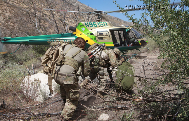 Part of the operation involved clearing dense brush in order for the MET helicopter to be able to land safely and extract the operators after a long day of work in the mountains.