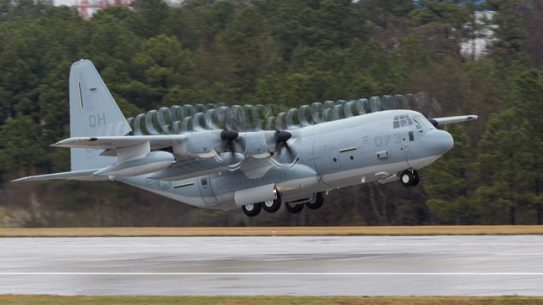 The first KC-130J Super Hercules tanker assigned to a U.S. Marine Corps Reserve squadron was ferried on March 17 from the Lockheed Martin facility in Marietta, Ga. This KC-130J is assigned to the Marine Aerial Refueler Transport Squadron 234 stationed at Naval Air Station Fort Worth Joint Reserve Base, Texas. It will be welcomed with a formal delivery ceremony on March 18 in Fort Worth.