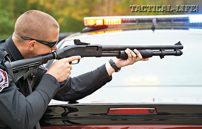 Mossberg 590A1 shotguns are available in several variants including the SPX with a 6-position adjustable stock shown here on police duty.