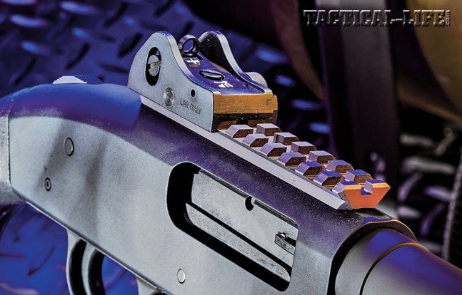 The 590A1's ghost ring rear sight is quite effective, and the Picatinny rail on top of the receiver also allows operators to mount an optic or red-dot sight if so desired.