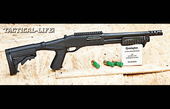 A Remington 870 Police Breacher System that can double as an entry gun with a Picatinny rail located on top of the receiver.