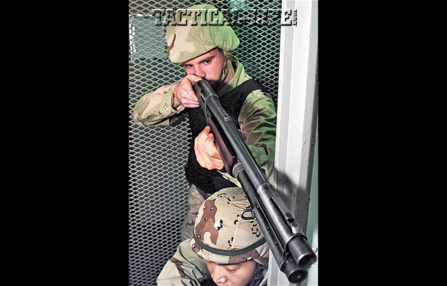 Every branch of the U.S. armed forces uses Remington 870 shotguns in some form or another. Here Marines use 870s for ship-clearing operations.