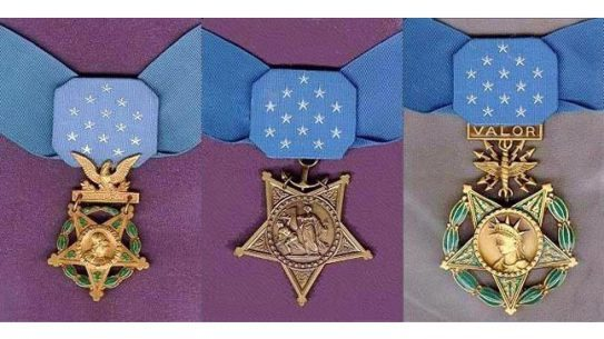 Army, Navy, and Air Force versions of the Medal of Honor