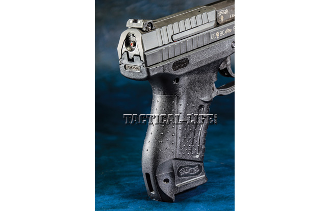 Walther ships the P99 with three interchangeable backstraps—sizes small, medium and large—that allow operators to find the most comfortable fit.