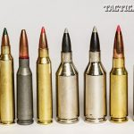 """Today's rifle ammunition manufacturers are coming on strong with a spectrum of """"others"""" to feed your AR-15 rifles. From left to right: The .17 Remington, .204 Ruger, 5.45x39mm, .223 Remington, .223 Winchester Super Short Magnum (WSSM), .243 WSSM, 6.5 Grendel & 6.8 SPC."""