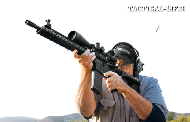 Stag's Model 3TL-M features a Magpul grip and stock, a Diamondhead VRS-T handguard and flip-up sights. Add a Leupold 6.5-20X Mark 4 LR/T scope in 30mm GG&G rings and you are ready for long-range shooting action.