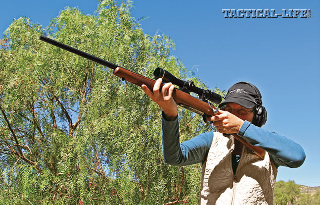 Ruger offers its M77 Hawkeye bolt action in nine calibers, from .204 Ruger to the .300 Win Mag. This left-handed .223 Remington M77 features a 22-inch-long barrel.