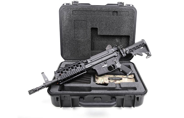 ARES-16 Sub-Carbine with barrel inserted and buttstock in the deployed position.