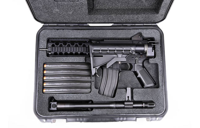 ARES-16 Sub-Carbine fitted with magazines and accessories into an SKB case with routed custom foam.