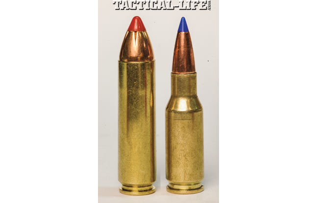 The .450 Bushmaster (left) and the .30 Rem. AR (right) are great for hunters.