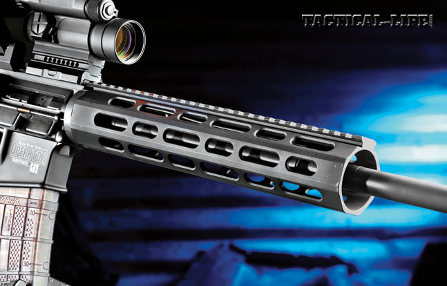 The free-floating, octagonal TRO handguard provides a long top rail for mounting optics and accessories, and users can add rail sections.