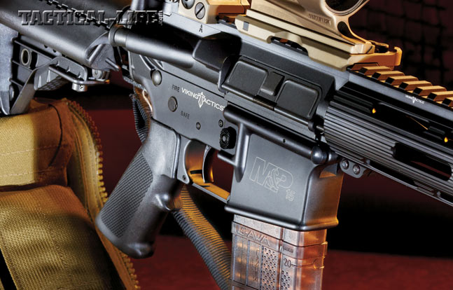 The VTAC II uses an A2 pistol grip and a non-adjustable, single-stage Geissele Super-V trigger designed exclusively for Viking Tactics.