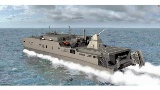 An artist's conception of a joint high speed vessel with an electromagnetic railgun