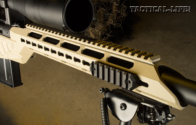 The modular, free-floating forend features KeyMod points for adding rail sections, allowing LEOs to customize the rifle for each mission.