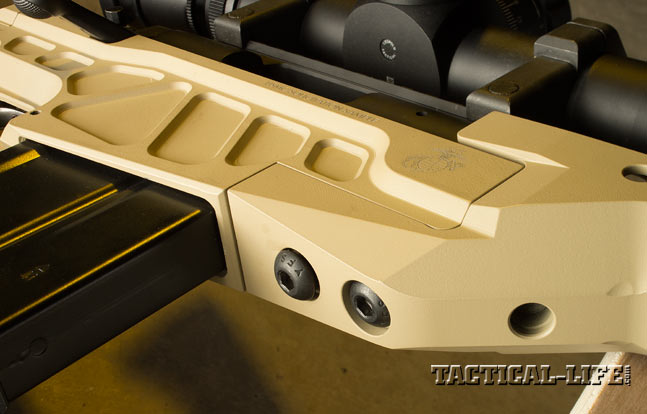 The aluminum chassis of the AM40A6 consists of three pieces, and the smooth, angular forend is mounted to the receiver with two screws.