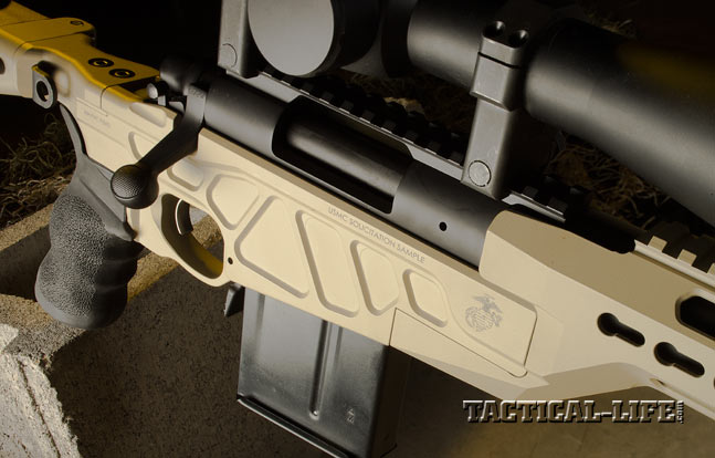 The chassis holds a perfectly tuned Remington 700 action. Also note the dished-out areas that save weight without sacrificing strength.