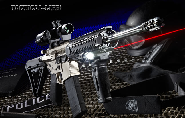 Black Rain Ordnance's PG9 combines striking looks, reliability and accurate 5.56mm firepower. Shown with a Bushnell AR Optics 1-4x24mm Throw Down PCL riflescope.