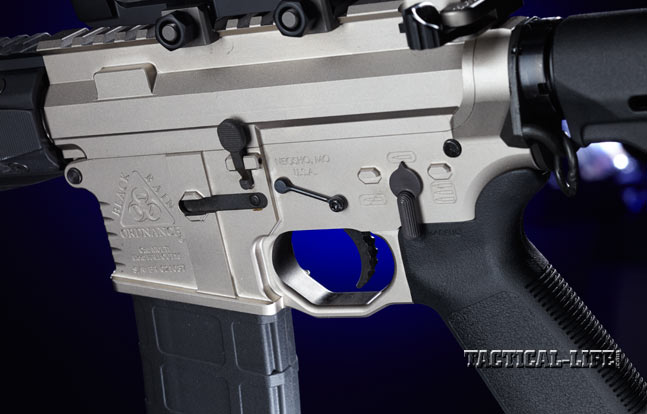 The PG9's black controls, takedown pins and KNS Gen 2 Mod 2 anti-rotation pins contrast nicely with the Norguard receiver finish.