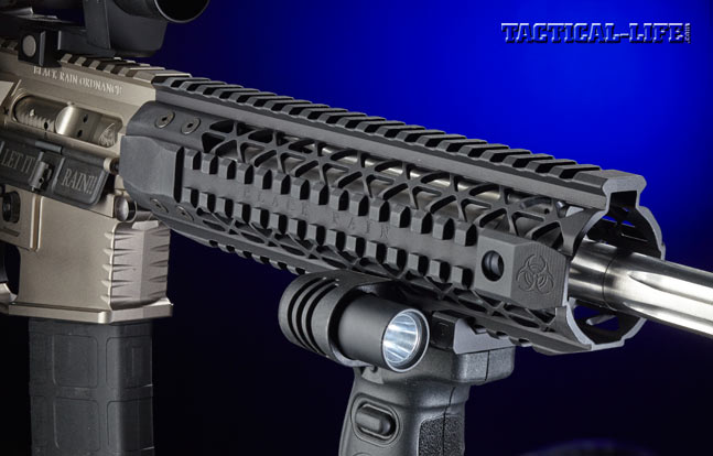 Surrounding the barrel is Black Rain's 9-inch, free-floating, mid-length quad-rail handguard, which is machined from 7075 aluminum.