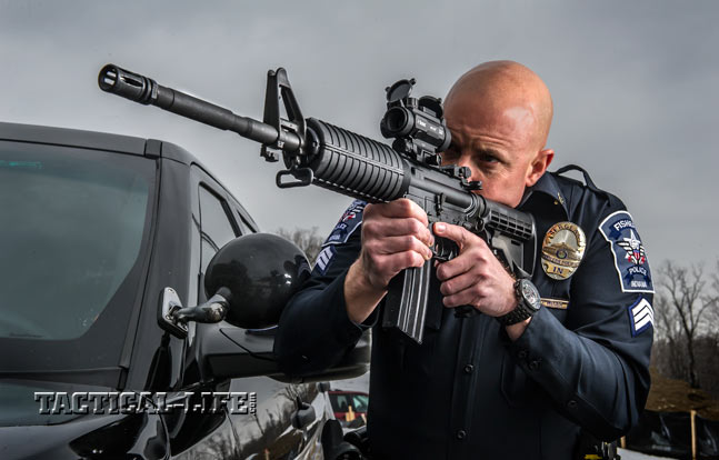 DoubleStar's new Mil-Spec Dragon in 5.56mm NATO brings mil-spec quality and reliability to the mean streets for LE duty. Shown with a Burris AR-1X Prism Sight.