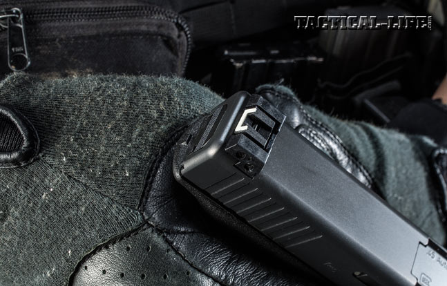 The author's test Glock 41 Gen4 came with an adjustable, white-outlined rear sight