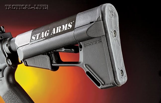 The Stag 3T-M comes standard with a six-position collapsible Magpul ACS stock, which features a storage compartment in the rear.