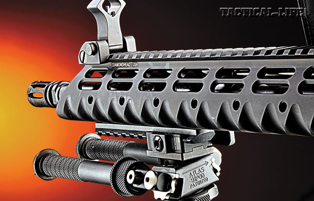 The 13.5-inch, free-floating Diamondhead VRS-T is pre-drilled to accept multiple rail sections for mounting lights, lasers and/or a bipod.