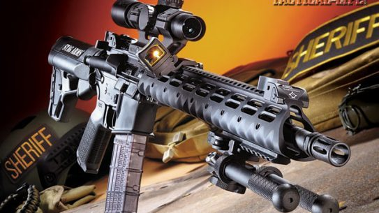 Stag's new 3T-M was designed with input from LEOs for the ultimate patrol setup. Shown with a Trijicon RMR reflex sight, an Atlas bipod and a Leupold 1.5-5x20mm Mark 4 MR/T riflescope.