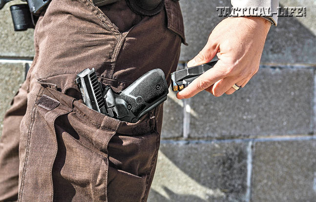 Step 3. Pull a fresh magazine and insert it into the empty pistol. You now are free to draw the pistol and release the slide, preparing it for action.