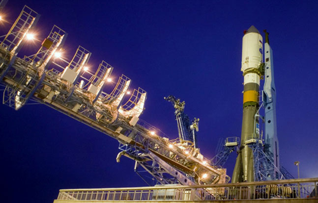 """""""Souyz-2"""" rocket carrier at the launching installation (Photo by: Aerospace Defense Forces)"""