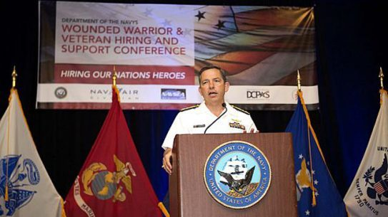 Vice Adm. David Dunaway, commander of Naval Air Systems Command, speaks at the 4th annual Warrior and Veteran Hiring and Support Conference. The free two-day conference aims to bring employers and wounded warriors together in one location to match their needs for employment. (U.S. Navy photo by Mass Communication Specialist 2nd Class Tyrell K. Morris/Released)