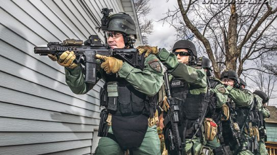The Fishers Police Department Emergency Response Team (ERT) uses ARs with ops-ready setups: EOTech sights, Troy forends, SureFire lights and Insight laser devices.