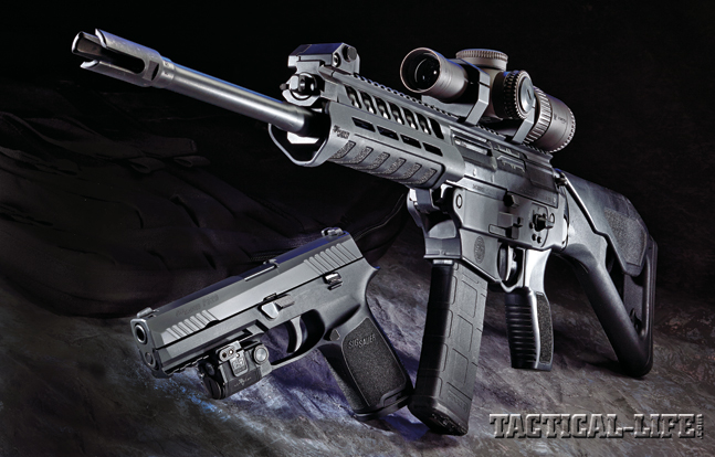 The next-gen P320 pistol (shown with a Viridian C5L) and SIG556xi carbine (shown with a Vortex Razor HD 1-6x24) deliver Sig Sauer's renowned quality and allow LEOs to configure their duty weapons for every possible mission.