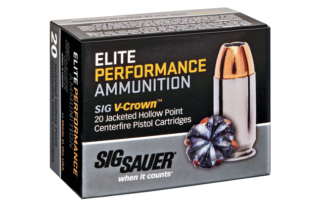 Sig Sauer's ammunition features the V-Crown jacketed hollow point for reliable expansion.