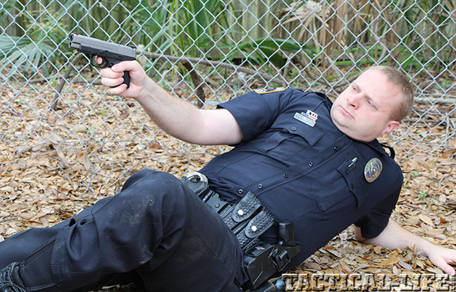 "Springfield Armory 4.0"" XD-S 9mm pistol police aim"