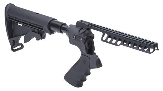 Mesa Tactical Telescoping Hydraulic Recoil Stock and Rail for Moss 500 lead