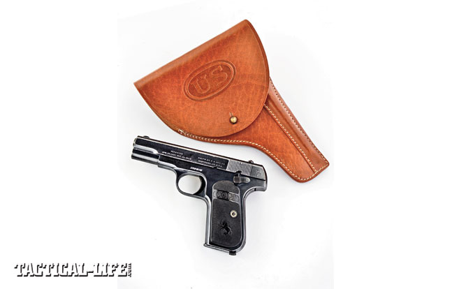 General officers were issued small-caliber sidearms, including the Colt's Model 1903 Hammerless chambered in .32 ACP. An original WWI-era pistol is shown with World War Supply's copy of the Colt Hammerless U.S.-marked officer's holster. The holster comes with the special cleaning rod made to carry in the channel sewn into the front of the holster.