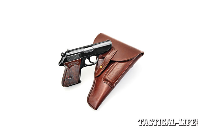The Walther PPK was a German officer's sidearm and was carried in a traditional-style leather flap holster with sewn-on magazine pouch.