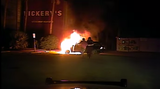 Mount Pleasant Police Department burning car