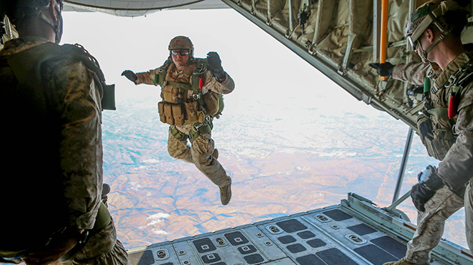 Recon Marines Static-Line Parachute Operations