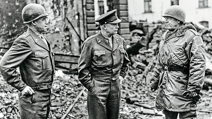 US Generals Bradley, Eisenhower and Patton.