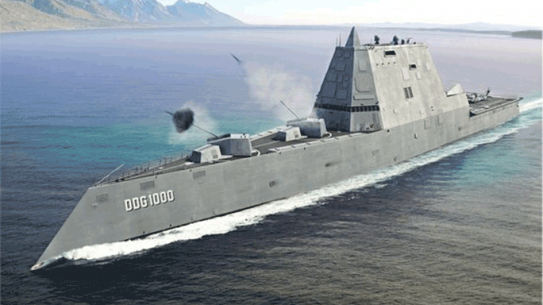 U.S. Navy USS Zumwalt Futuristic Destroyer At-Sea Testing