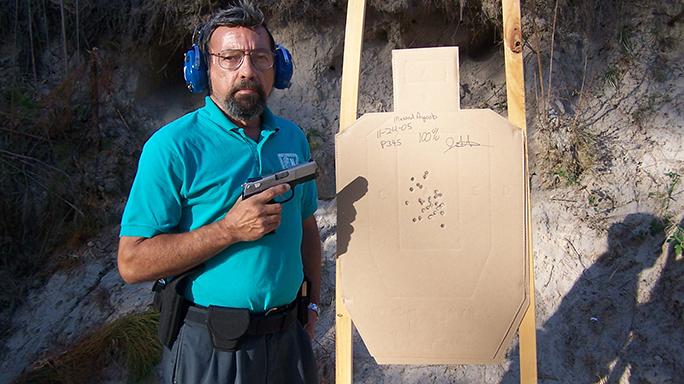 DA-SA Semi-Auto Pistol Massad Ayoob target