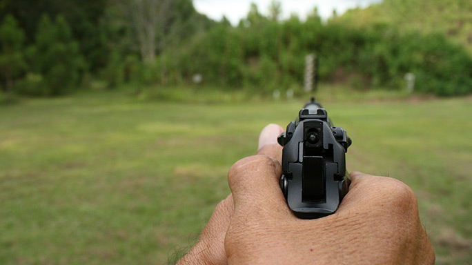 Tactical Reload Semi-Auto Pistol Step 1