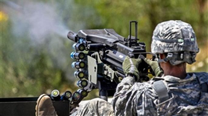 MK19 rapidly fires explosive 40mm grenades