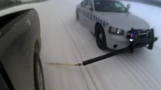 The MobileSpike takes out a suspect's tire